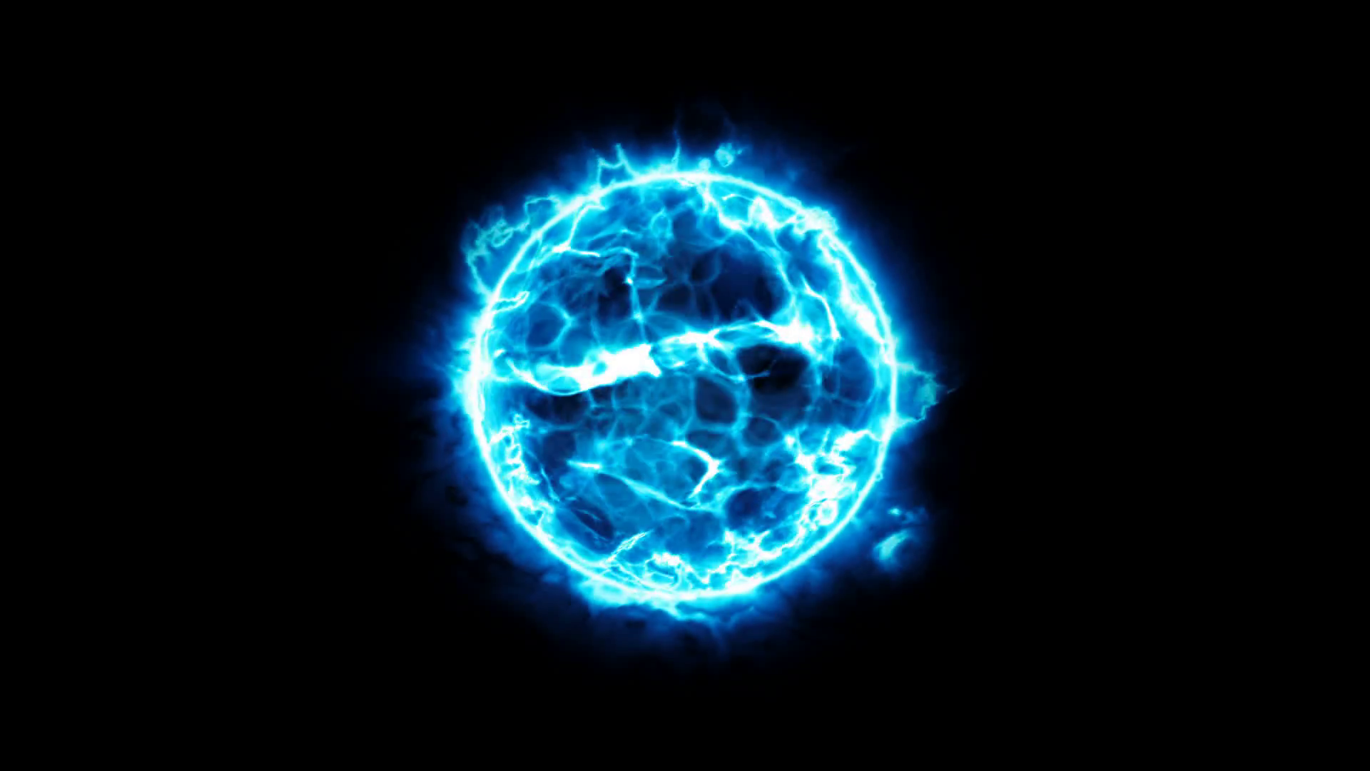 Abstract blue energy ball on black background. Energy appearance. Plasma  effect. Motion Background.