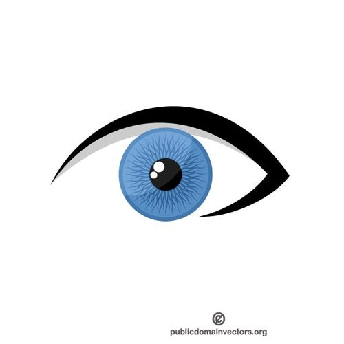 Blue eye vector clip art.