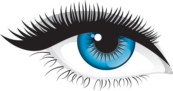 Blue eyes clipart with eyelashes.