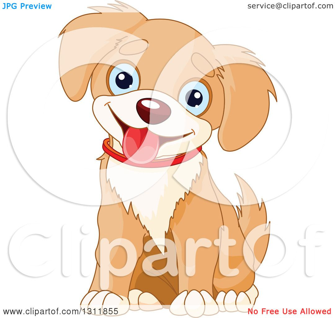 Clipart of a Cute Tan and Beige Baby Puppy Dog with Blue Eyes.