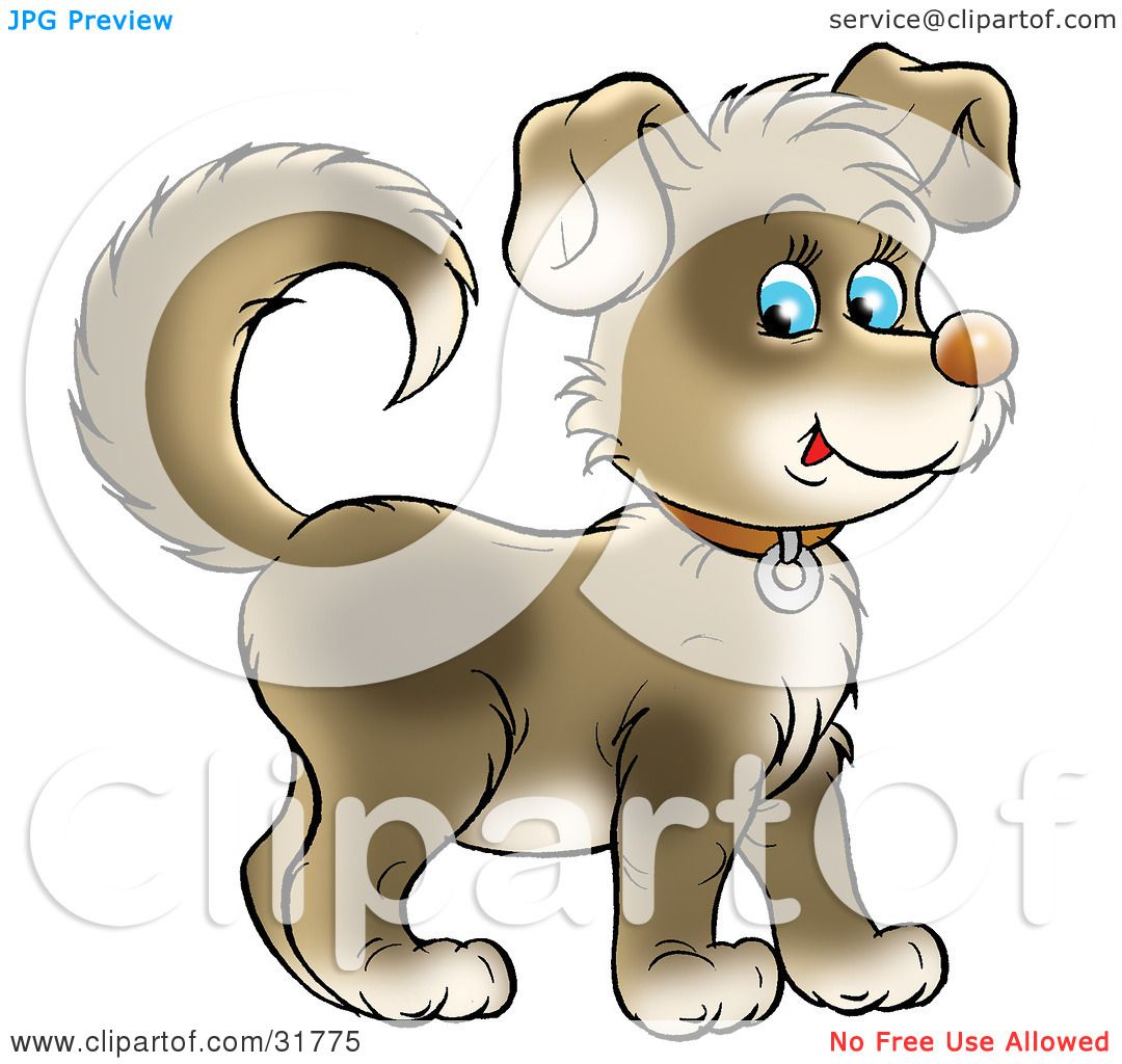 Clipart Illustration of a Cute Brown Puppy With Blue Eyes, Wearing.