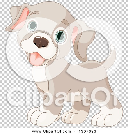 Clipart of a Cute Beige Baby Puppy Dog with Blue Eyes.