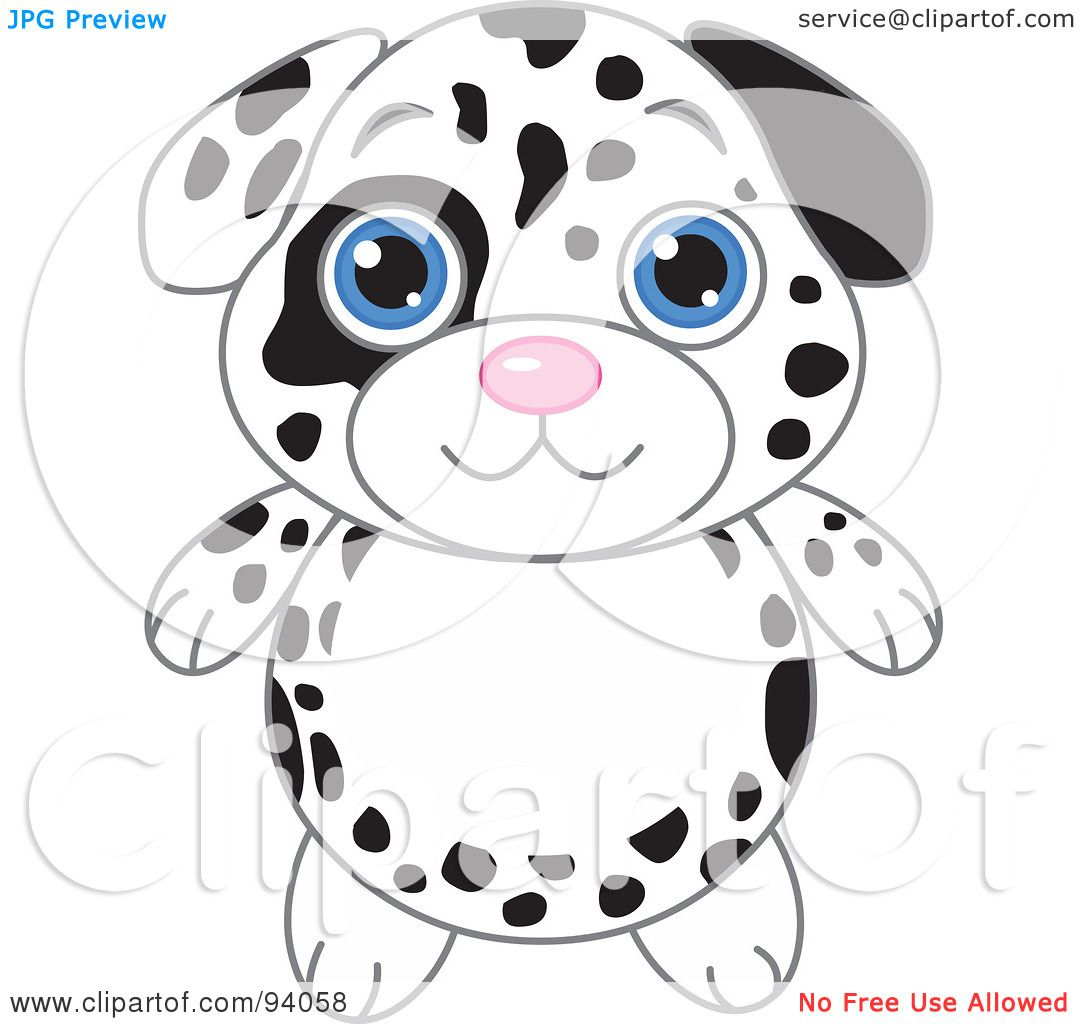 Rf Clipart Illustration Of A Cute Dalmatian Puppy With Big Blue.