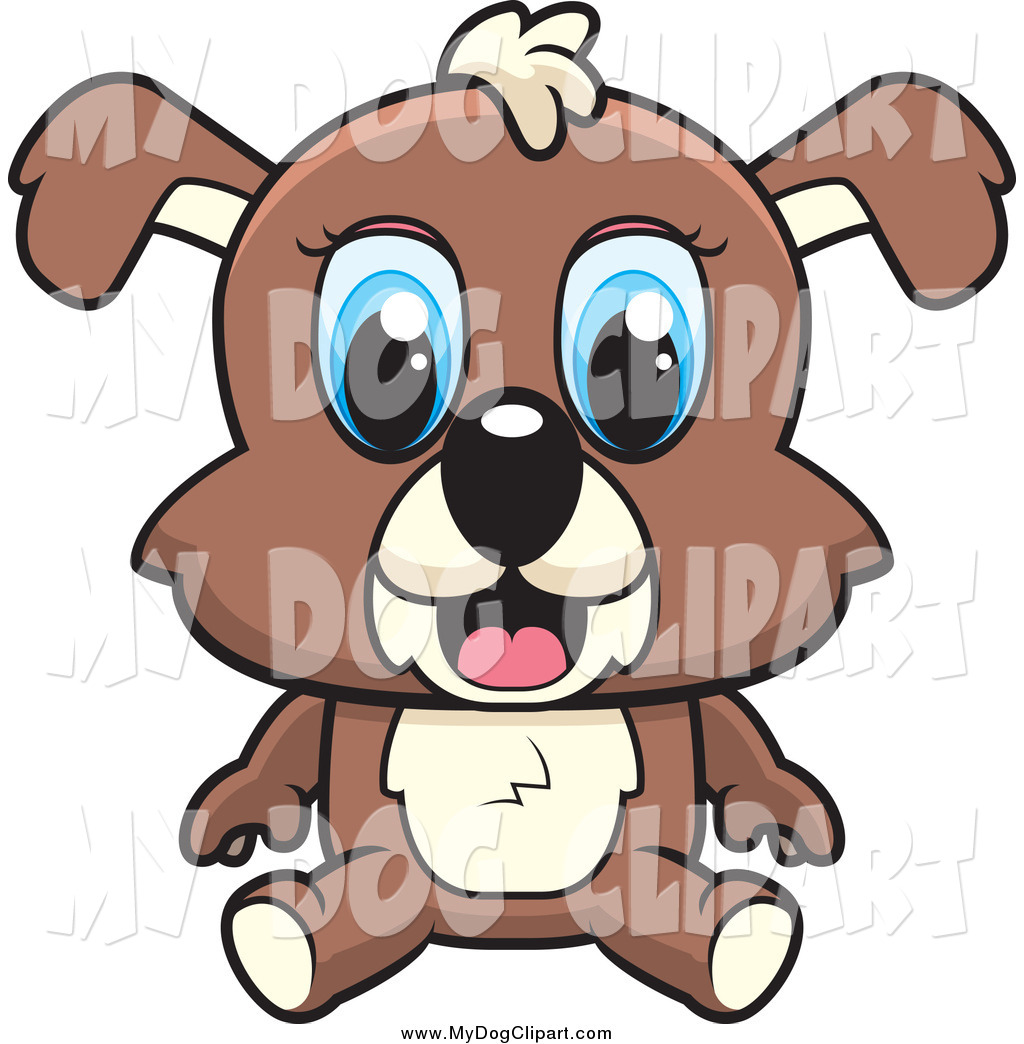 Clip Art of a Sitting Puppy Dog with Big Blue Eyes by Cory Thoman.
