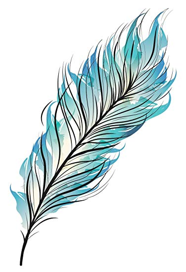 Blue Feather Temporary Tattoo.
