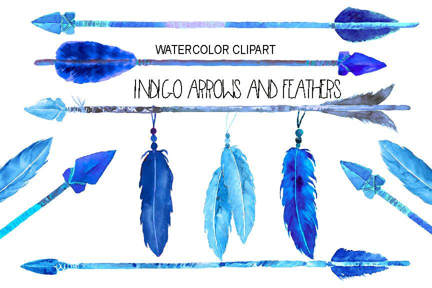 Watercolor indigo arrows and feathers for instant download.