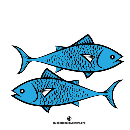 Blue fish vector clip art.