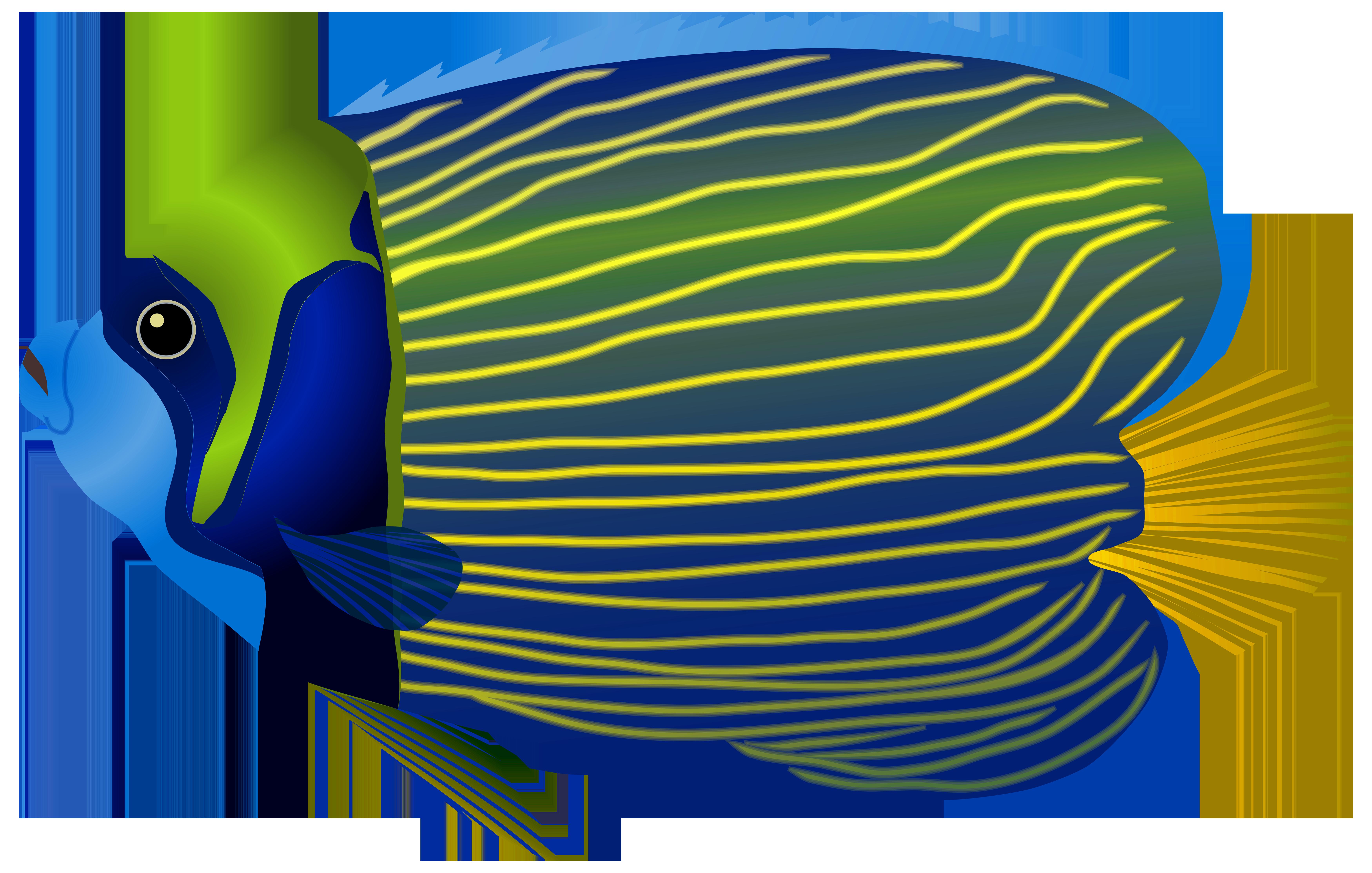 Blue Fish PNG Clip Art Image.