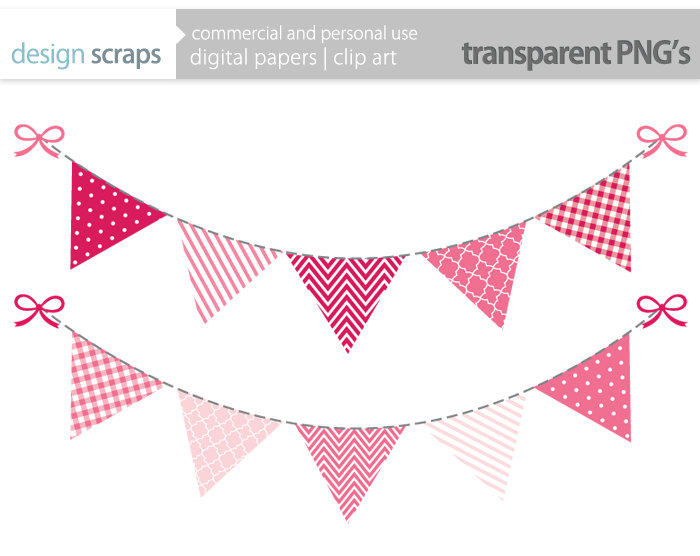 pink bunting banner clip art graphics flag banner by designscraps.