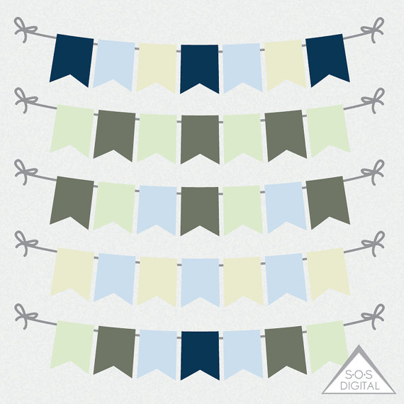Green and Blue Flag Banners Pennant Banners Bunting Clipart.