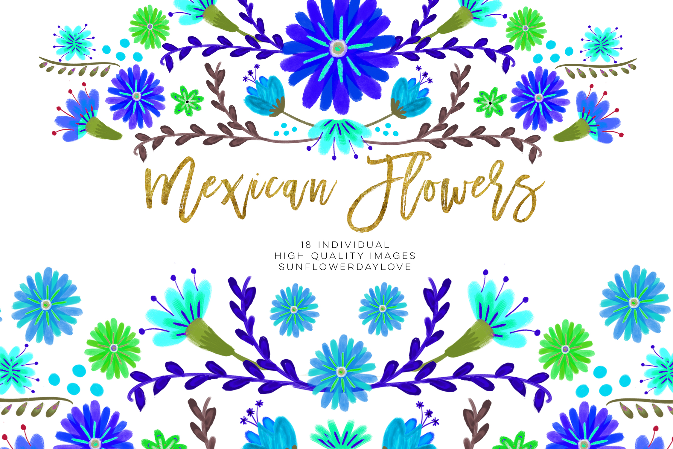 Blue Mexican Watercolor Floral clipart.