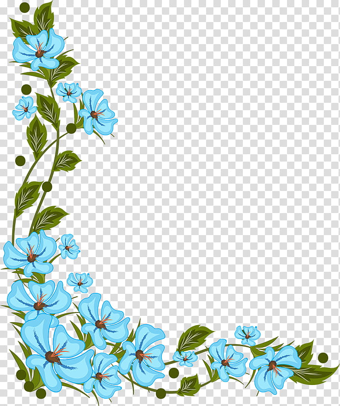 Flowers Corners, blue floral frame template transparent.