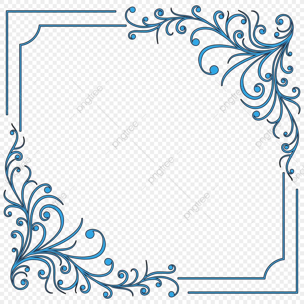 Blue Swirl Border Frame, Loral, Flourish, Floral PNG Transparent.