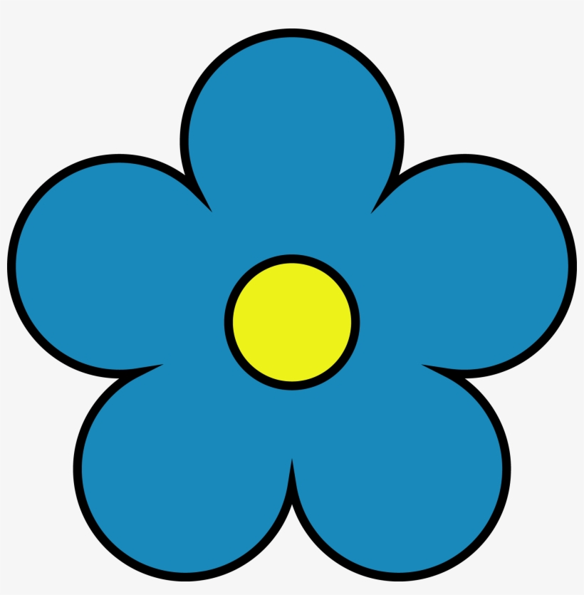 Outside Dark Blue Inside Yellow Flower Png Clipart.