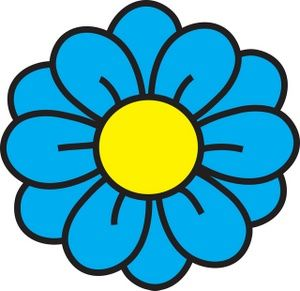 Flower Clipart Image: clip art illustration of a blue flower with a.