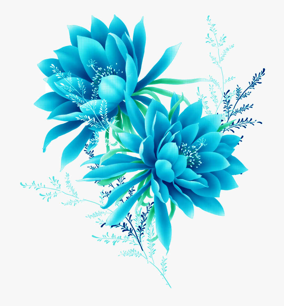 Blue Flower Effect Element Flowers Pixel Clipart.