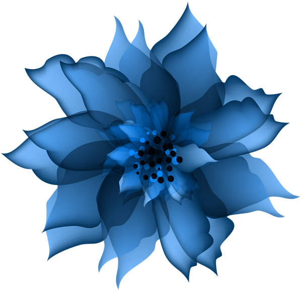 Decorative Flower Blue Transparent PNG Clip Art.