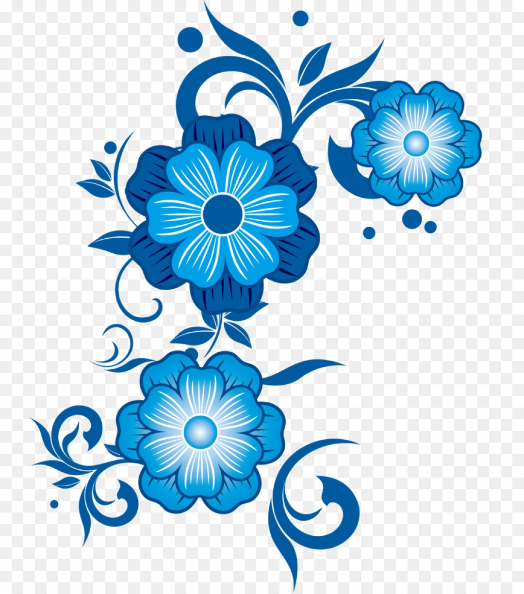 Png Flower Blue Pattern Blue Flower Vector.