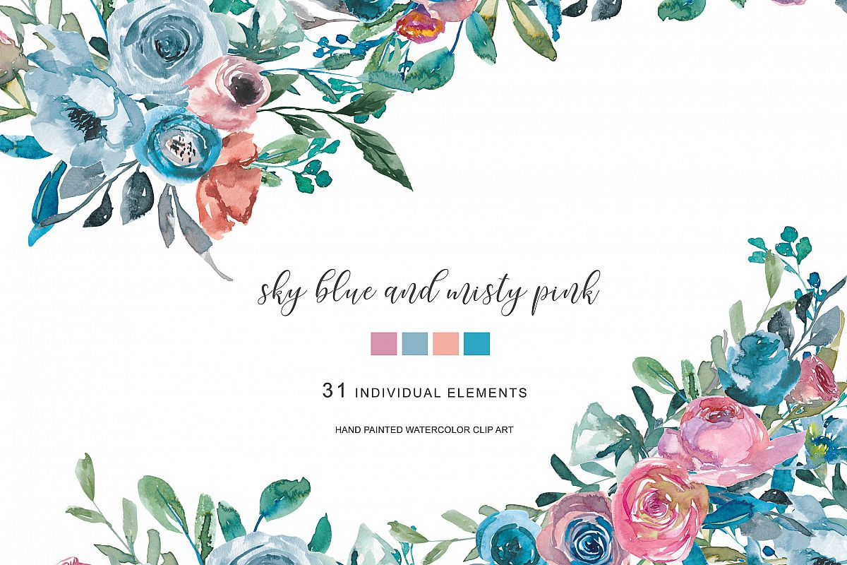 Watercolor Sky Blue & Misty Pink Flowers Clipart.