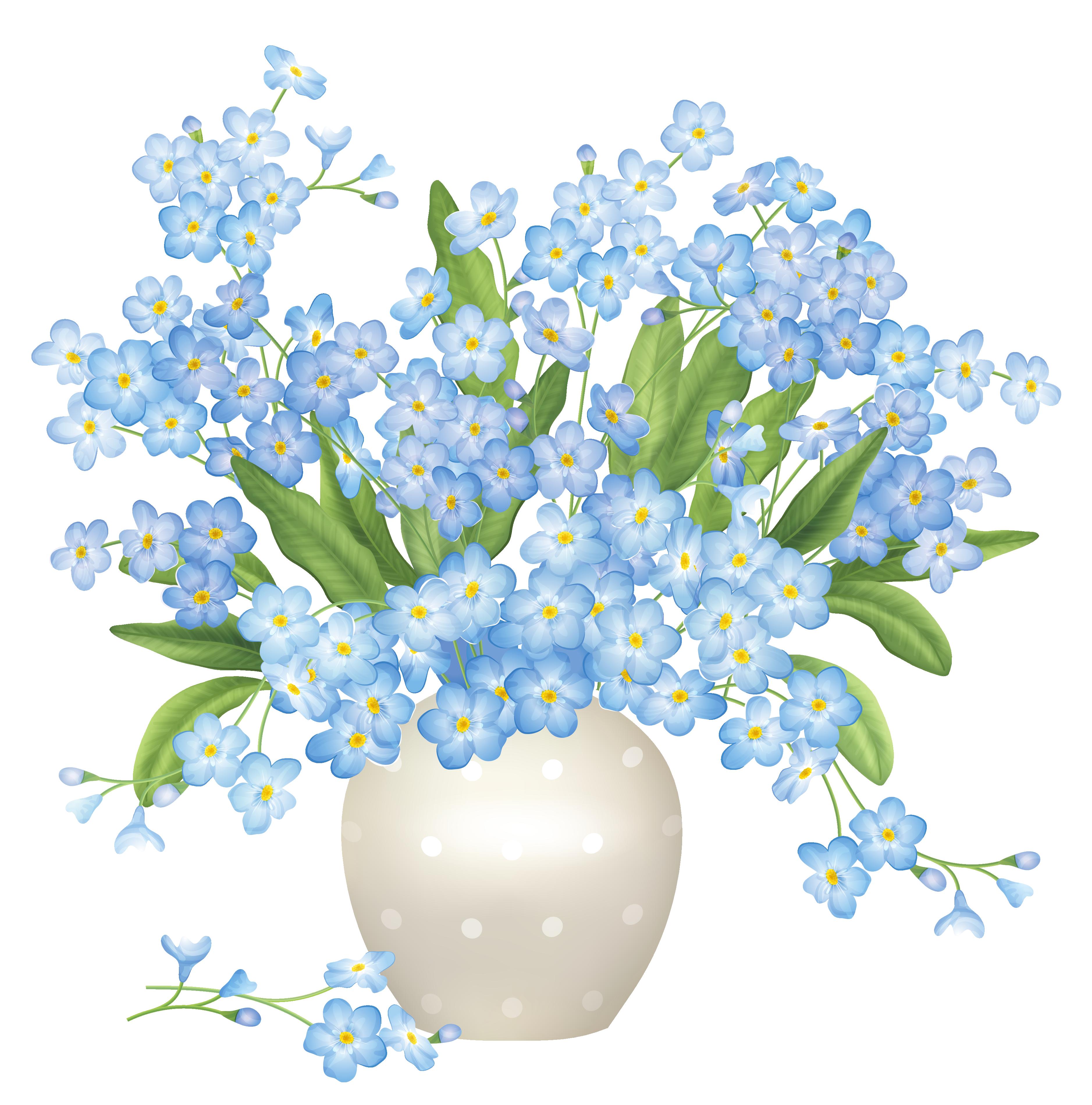Blue Flowers Vase PNG Clipart.