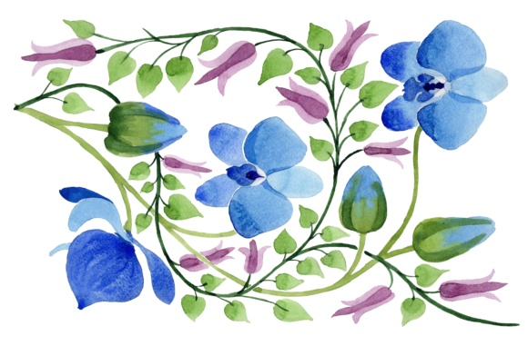 Ornament of blue flowers PNG watercolor set.
