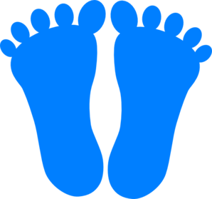 Blue Footprints Clipart.