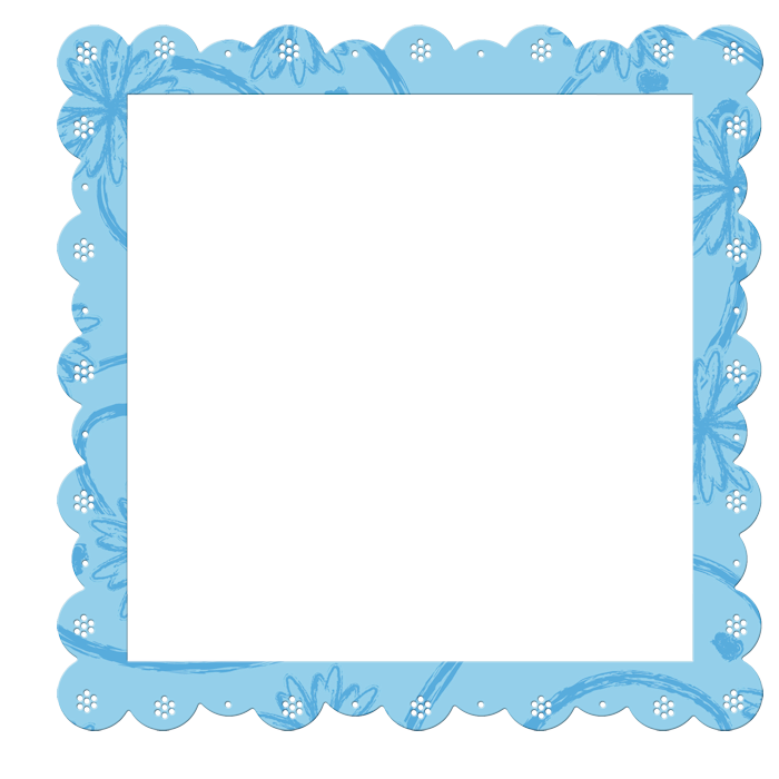Blue Transparent Frame with Flowers Elements.