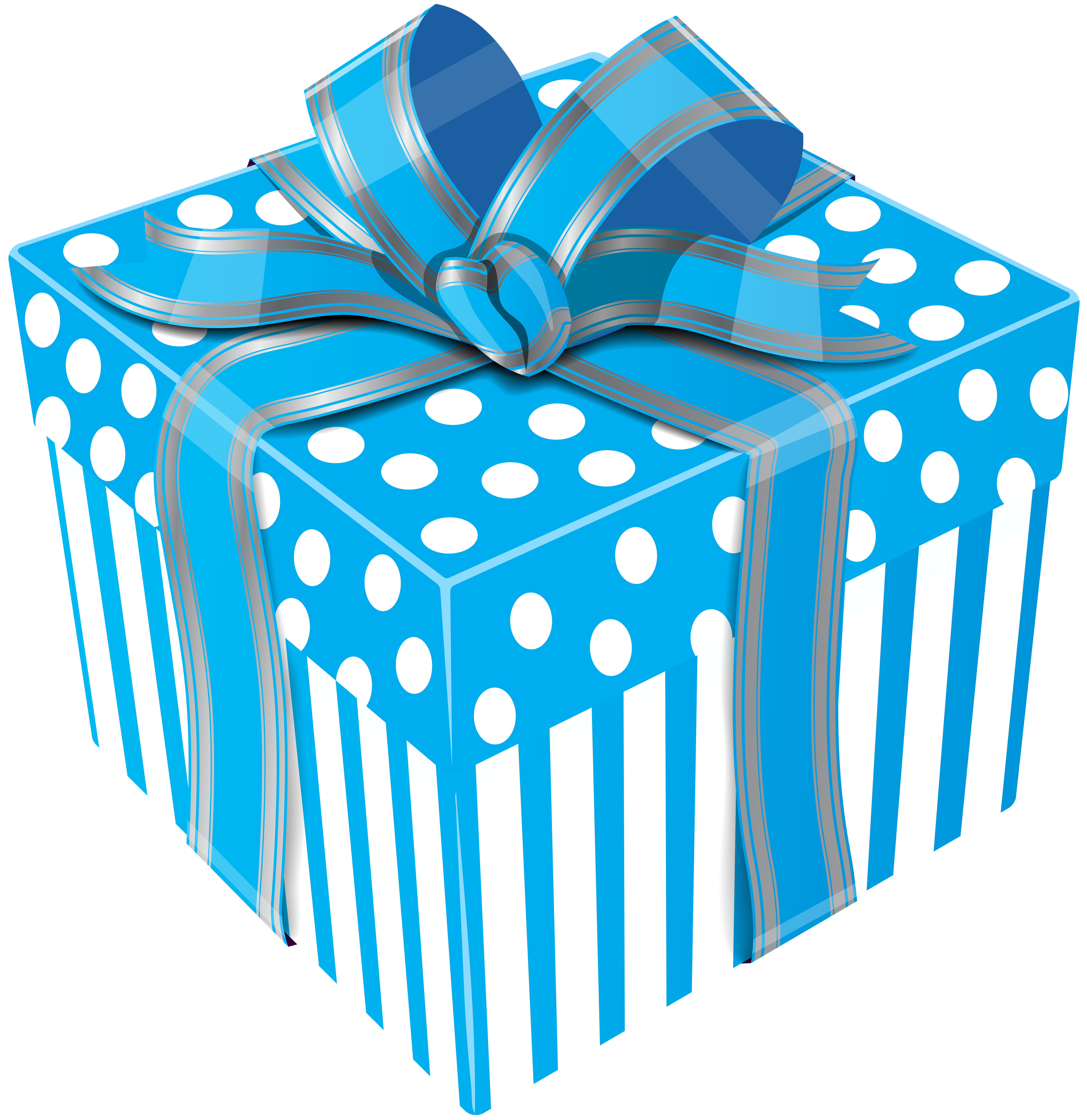 Cute Blue Gift Box Transparent PNG Clip Art Image.