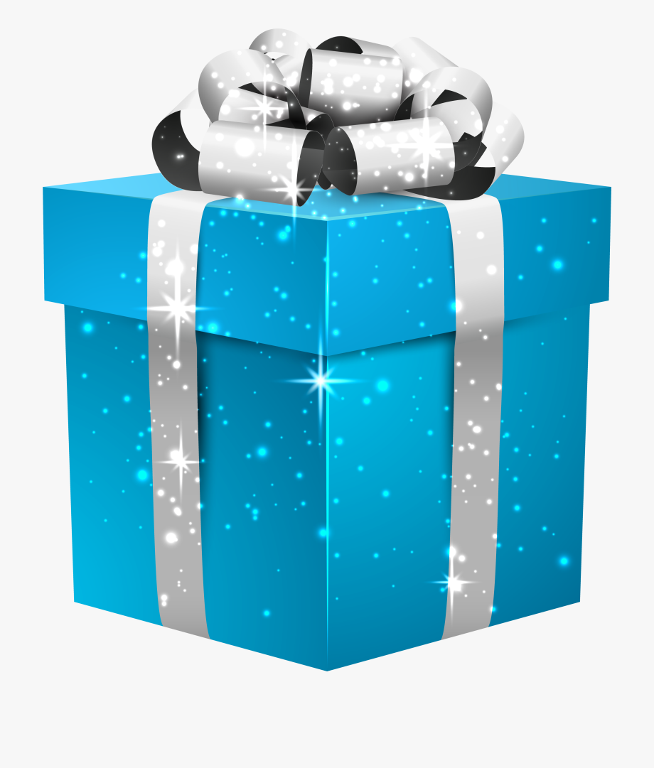 Blue Shining Gift Box With Silver Bow.