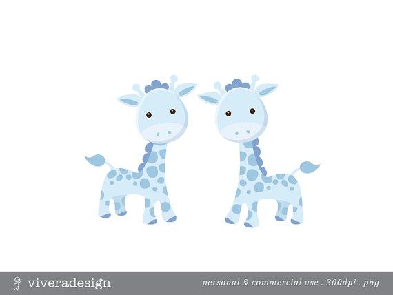 Blue Giraffe Digital Clip Art.