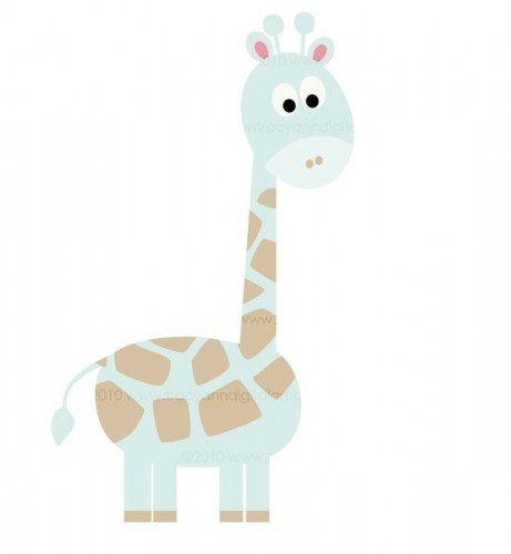 Baby Blue Giraffe Clipart.
