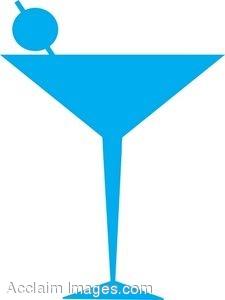 Blue Retro Martini Glass with Olive.