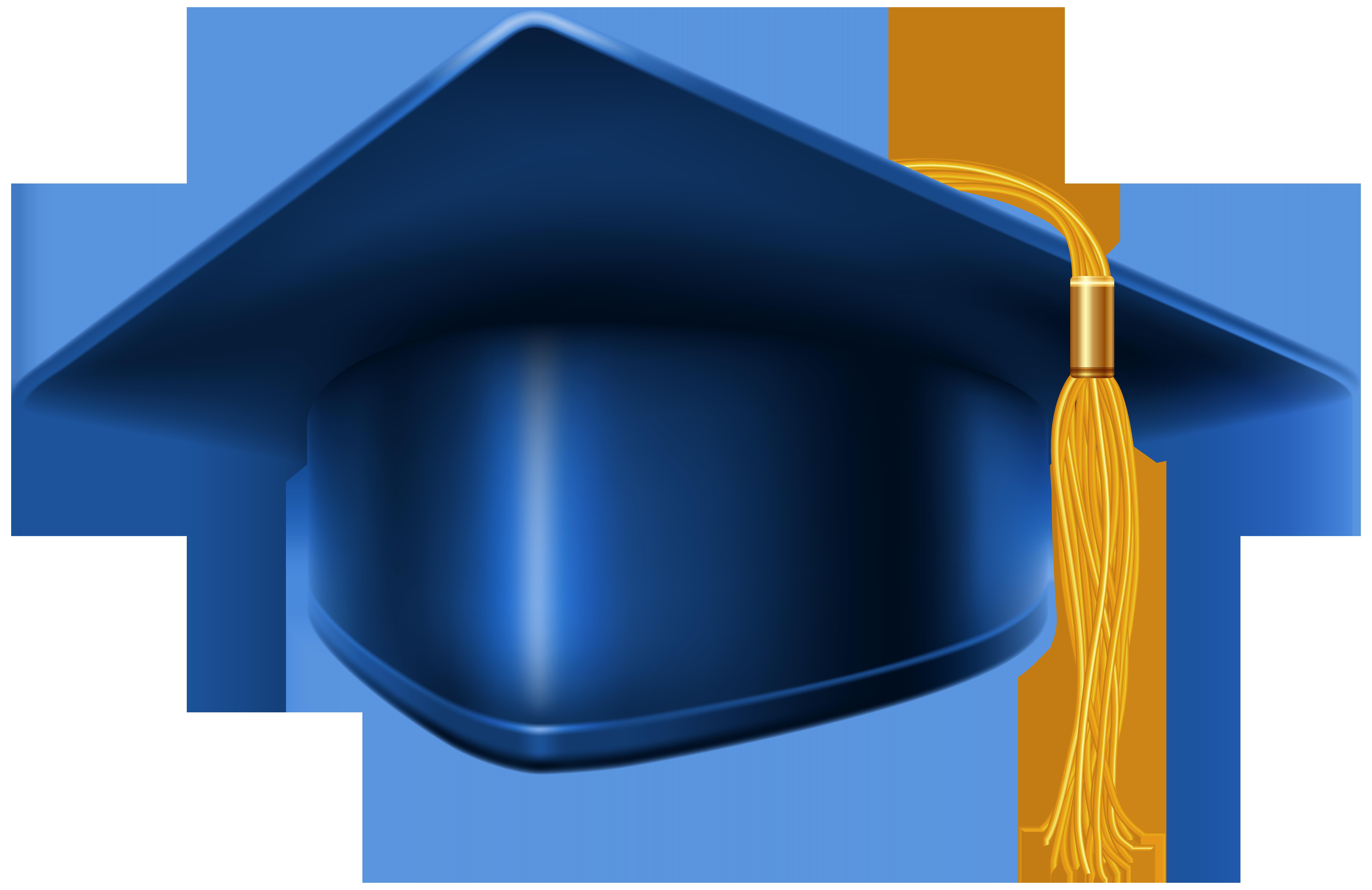Blue Graduation Cap PNG Clip Art Image.