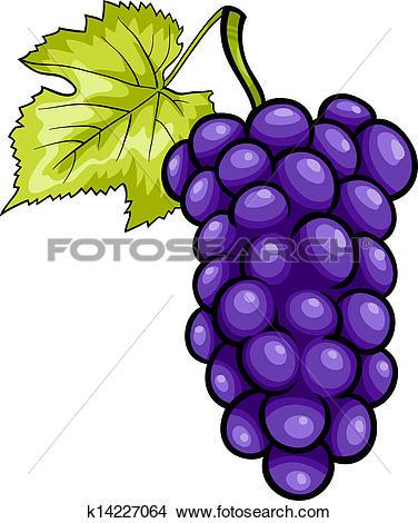 Clipart of blue grapes fruit cartoon illustration k14227064.