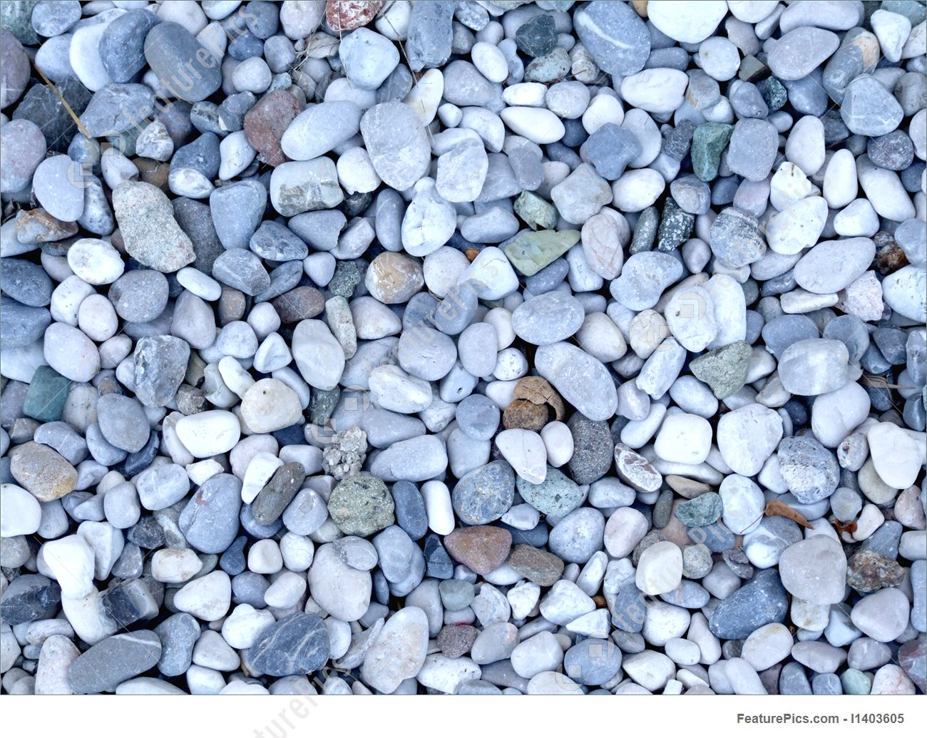 Image Of Blue And White River Gravel.