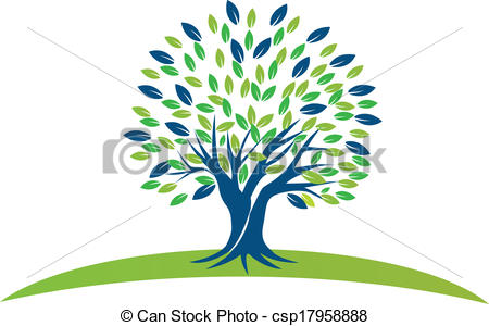 Vector of Tree with blue green leafs logo.