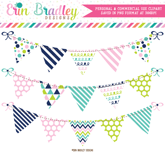 Pink Blue Green and Navy Banner Flag Bunting Clipart.