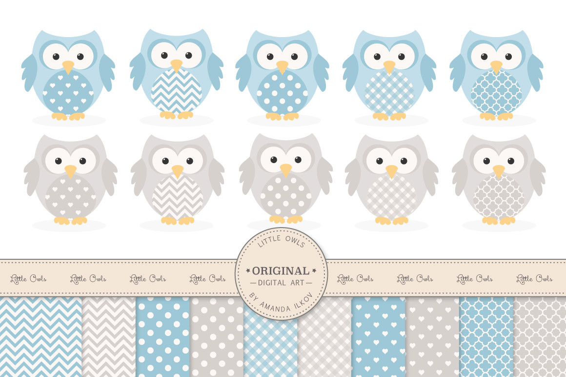 Patterned Owls Clipart & Digital Papers in Blue and Grey.