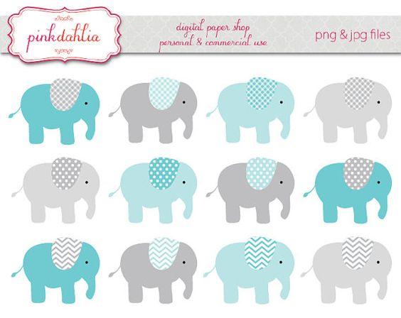elephant clip art graphics digital baby boy aqua blue grey.