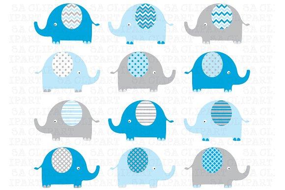 Blue Grey Elephant ClipArt ~ Illustrations on Creative Market.