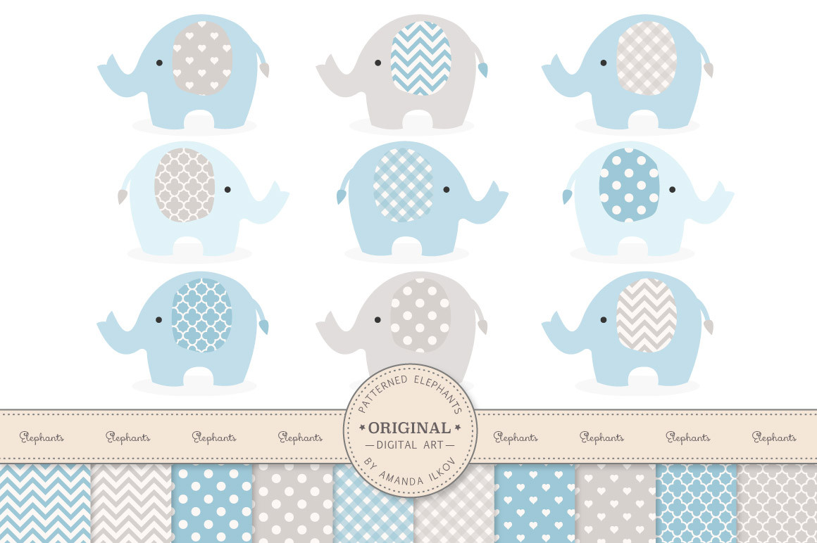 Patterned Elephants Clipart & Digital Papers in Blue and Grey.