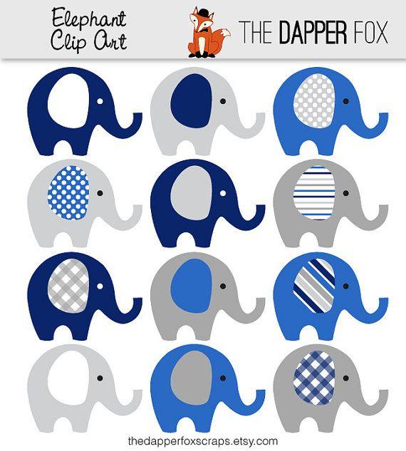 Navy Blue and Grey Elephant Clip Art.