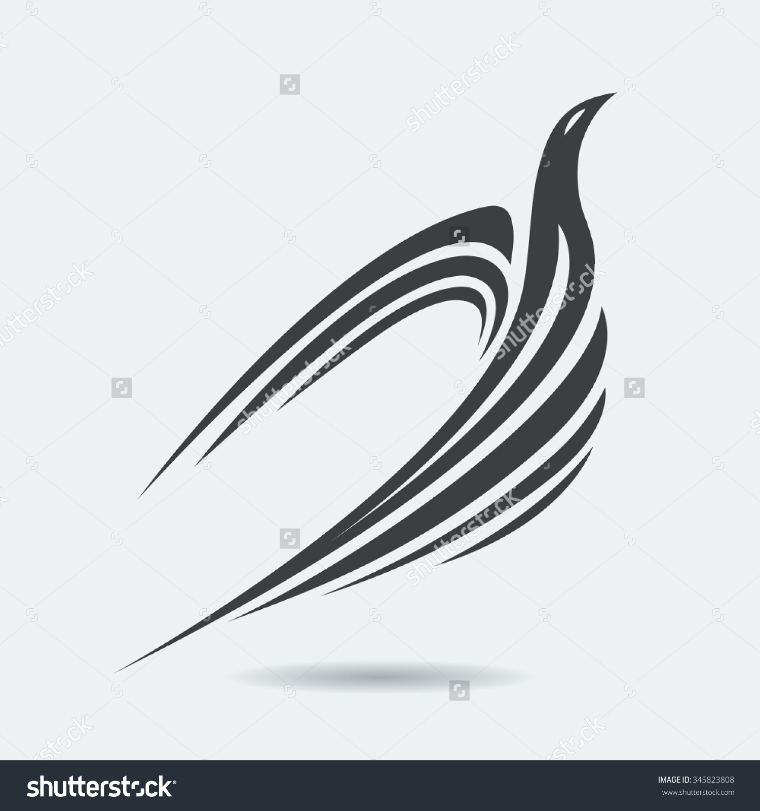 Stylized Rising Flying Bird Silhouette Grey Stock Vector 345823808.