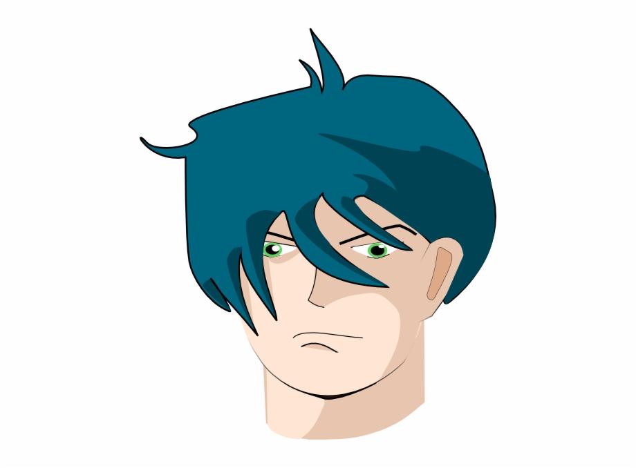 Blue Hair Man Png Clip Art.