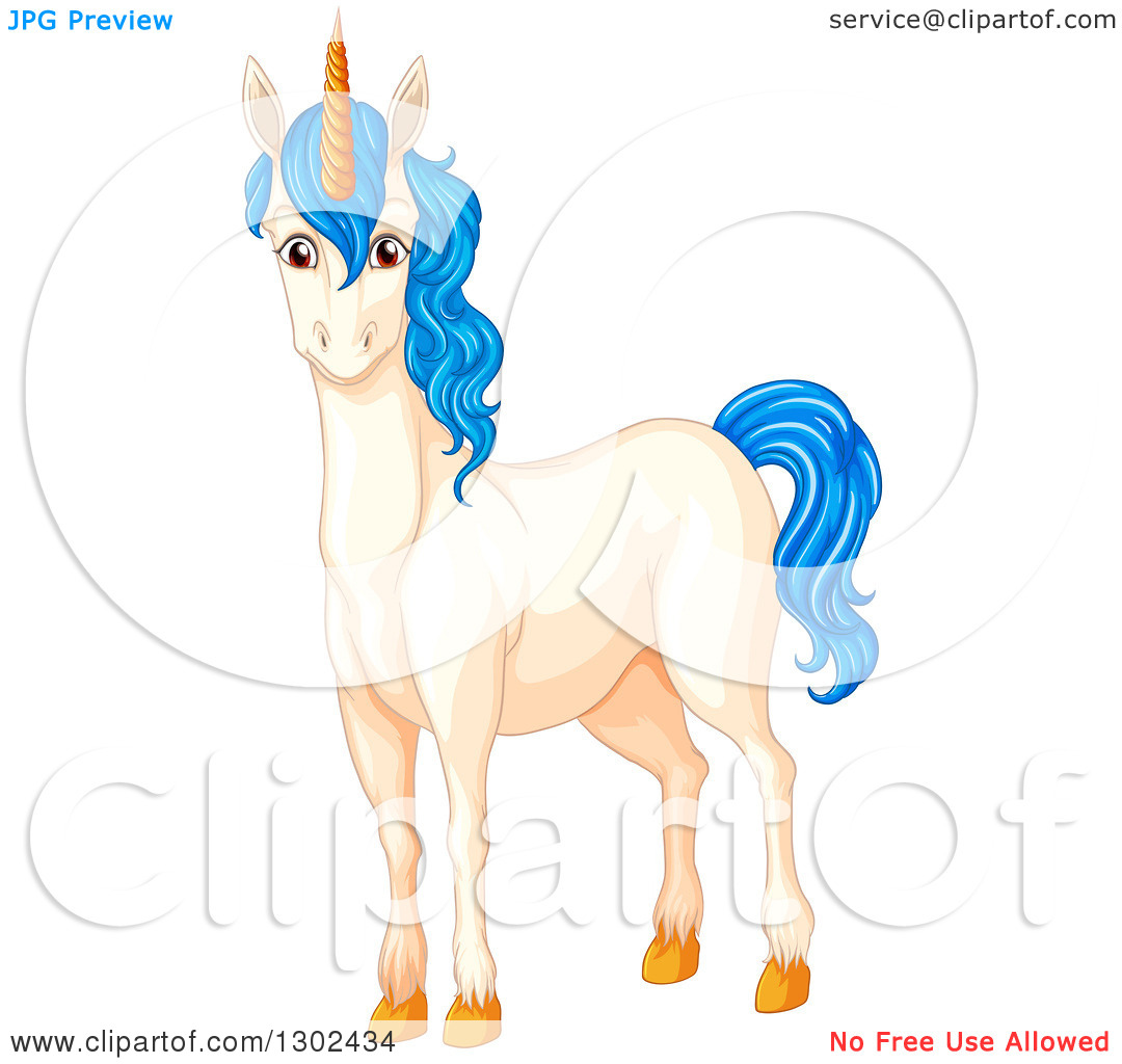 Clipart of a White Unicorn Horse with Blue Hair.