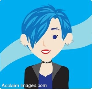 Clip art icon of a Punk Girl with Blue Hair.