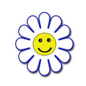 Free Clipart Image of a White and Blue Happy Face Flower.