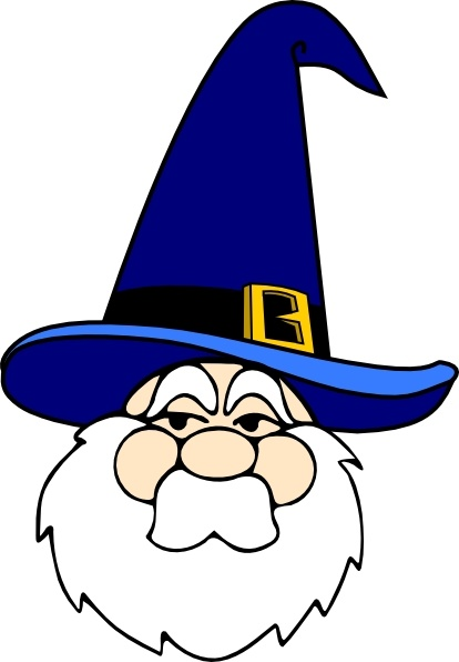 Wizard In Blue Hat clip art Free vector in Open office drawing svg.