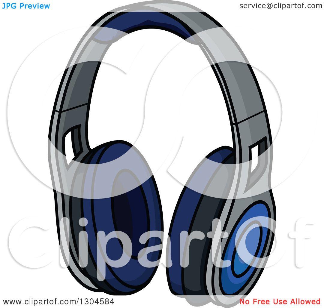 Clipart of a Cartoon Blue Headphones.