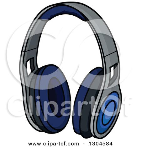 Clipart of a Cartoon Happy Blue Headphones Character.
